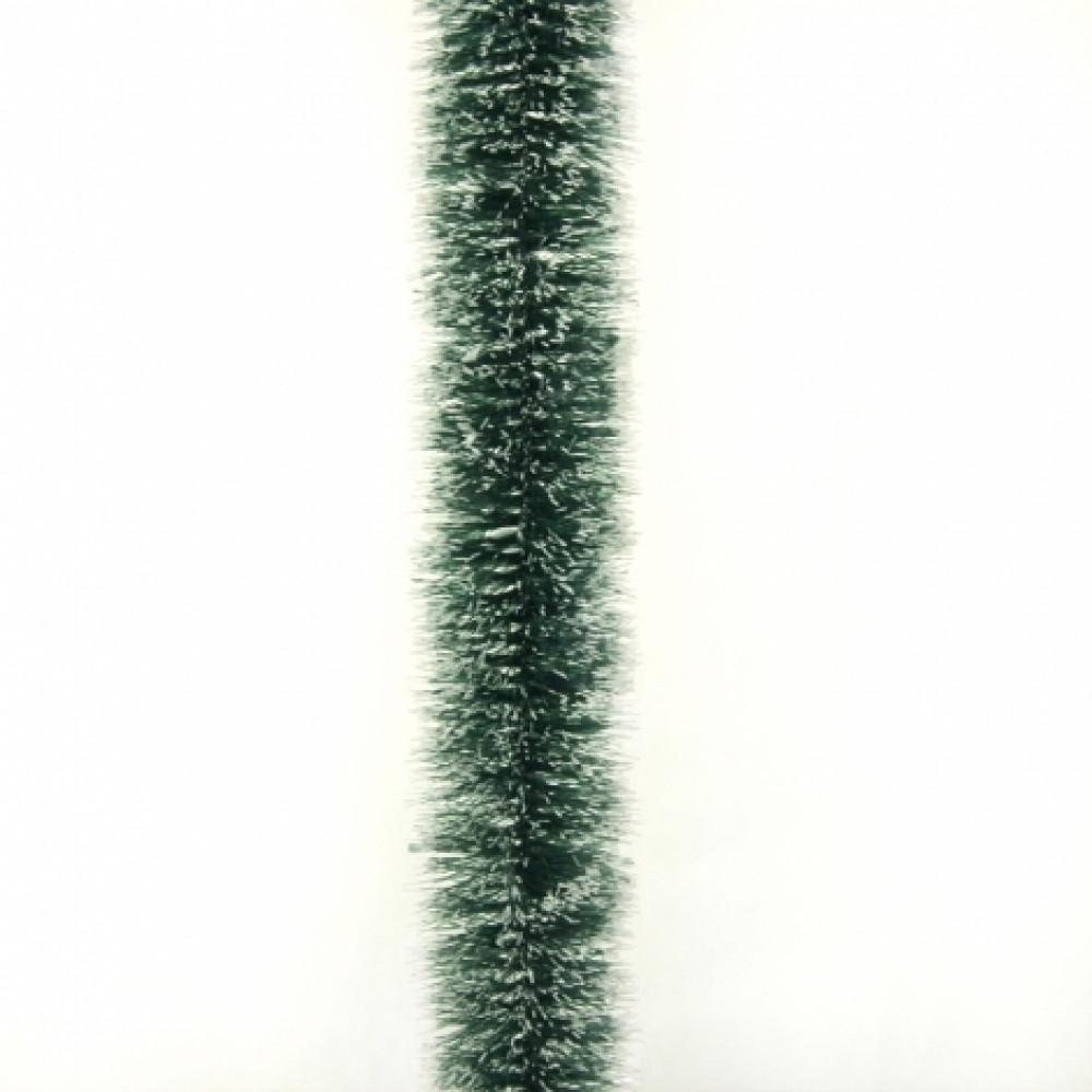Мишура «Норка зеленая с белыми кончиками» d=7 см. производитель .